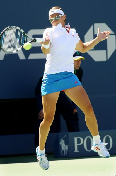 Kirsten Flipkens, shown at last year's U.S. Open, posted a win Wednesday that lifts her into the quarterfinals of the Aegon Classic tennis tournament, Flipkens is the No. 1 seed for the tournament. UPI Photo/Monika Graff