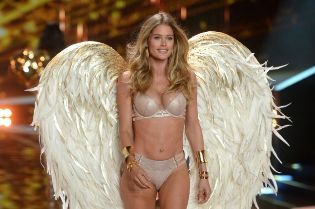 Dutch model Doutzen Kroes on the runway during the 2014 Victoria's Secret Fashion Show at Earl's Court Exhibition Centre in London on Dec. 2, 2014. Photo by Paul Treadway/UPI