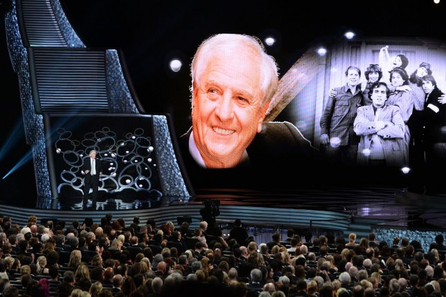 Video tribute to the late director Garry Marshall with actor Henry Winkler (L) speaking onstage during the 68th Annual Primetime Emmy Awards in Los Angeles on September 18, 2016. File Photo by Jim Ruymen/UPI