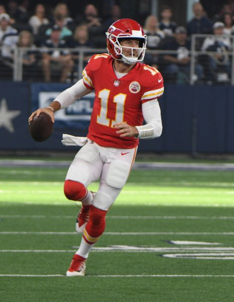 Kansas City Chiefs quarterback Alex Smith looks to pass during Sunday's game against the Dallas Cowboys. Photo by Ian Halperin/UPI