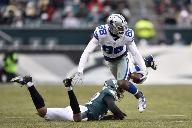 Dallas Cowboys wide receiver Dez Bryant (88) runs the ball after making a catch during the fourth quarter against the Philadelphia Eagles on December 31, 2017 at Lincoln Financial Field in Philadelphia. Photo by Derik Hamilton/UPI