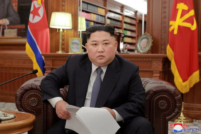 This image released by the North Korean Official News Service shows North Korean leader Kim Jong Un as he delivered a 30-minute New Year address on state television. Kim declared that he would have no choice but to act if Washington continued to ramp up sanctions on North Korea. Photo by KCNA/UPI