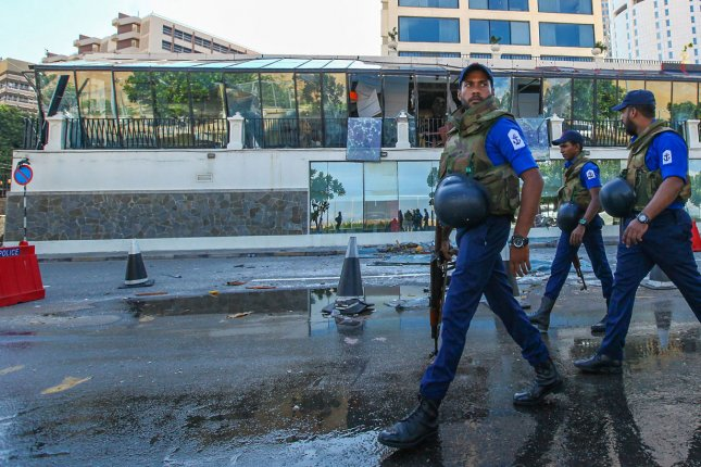 Soldiers patrol an area of Colombo, Sri Lanka, on April 23 following suicide bombings at churches and hotels. File Photo by Perera Sameera/UPI