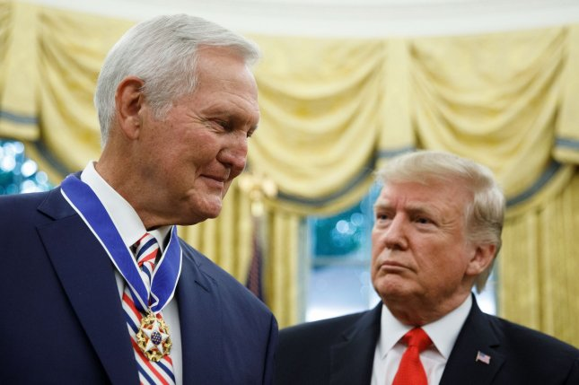 President Donald Trump presented the Presidential Medal of Freedom to NBA Hall of Fame member Jerry West on Thursday. Pool Photo by Tom Brenner/UPI