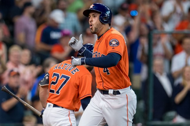 Houston Astros leadoff hitter George Springer went 3 for 5 with four RBIs and three runs scored in a division-clinching win against the Los Angeles Angels on Sunday in Houston. Photo by Trask Smith/UPI