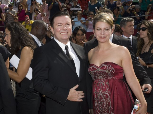 British actor Ricky Gervais and Jane Fallon arrive at the 60th Primetime Emmy Awards at the Nokia Center in Los Angeles on September 21, 2008. (UPI Photo/Scott Harms)