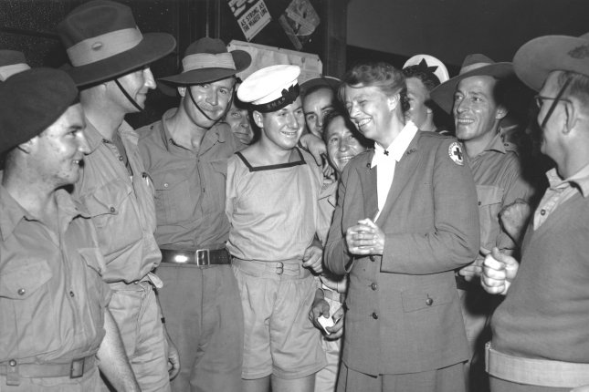 Mrs. Eleanor Roosevelt on a visit to Australia during World War II, meets with Australian sailors and soldiers. Photo taken probably September 1943. (UPI Photo/Files)