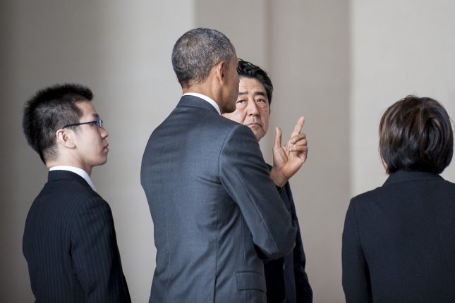 President Barack Obama and Prime Minister Shinzo Abe of Japan visit the Lincoln Memorial in Washington, D.C. on Monday. Pool Photo by Pete Marovich/UPI