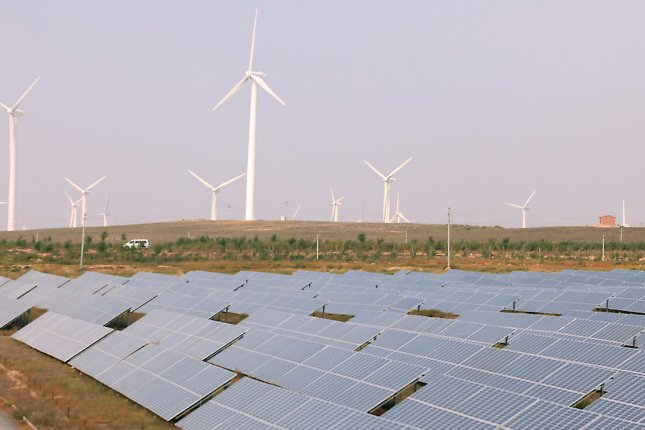 A quarterly report from the American Wind Energy Association finds the sector may be on pace to grow substantially over the next five years. File Photo by Stephen Shaver/UPI