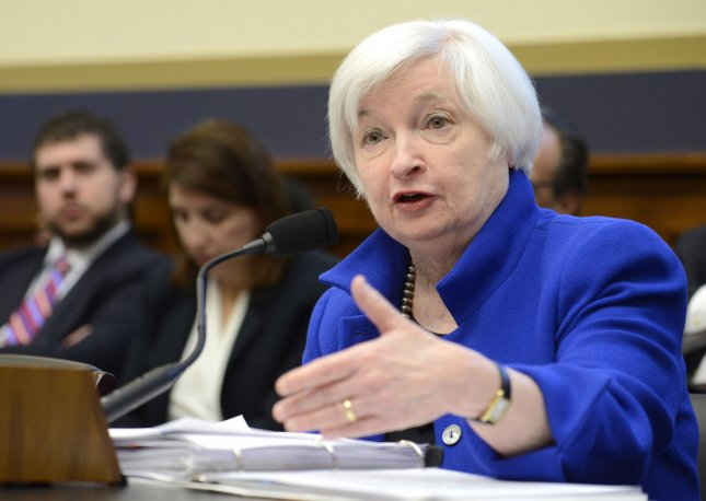 Federal Reserve Board Chairperson Janet Yellen makes remarks as she testifies before the House Financial Services Committee hearing on Capitol Hill in Washington, D.C., in February. The Fed's newly created Facebook page was quickly overrun with sarcastic and critical comments this week. File Photo by Mike Theiler/UPI