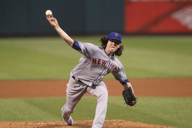 New York Mets starting pitcher Jacob deGrom delivers a pitch. File photo by Bill Greenblatt/UPI
