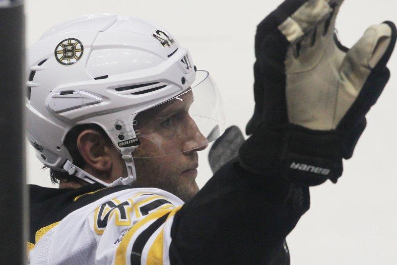 Boston Bruins forward David Backes. File photo by Bill Greenblatt/UPI