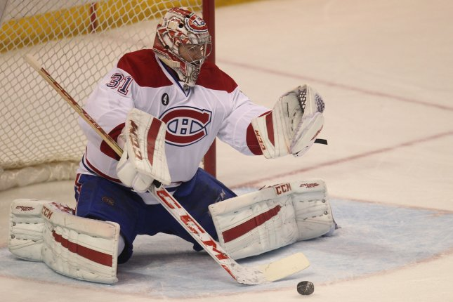 Carey Price and the Montreal Canadiens take on the Buffalo Sabres on Thursday. Photo by Bill Greenblatt/UPI