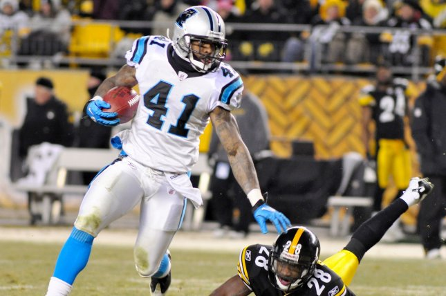 Former Carolina Panthers defensive back Captain Munnerlyn (41) was released by the Panthers on Monday. File Photo by Archie Carpenter/UPI