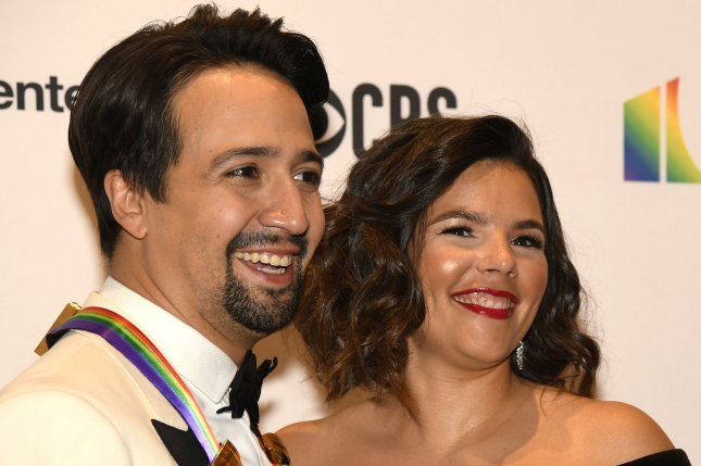 Lin-Manuel Miranda (L), pictured with Vanessa Nadal, will appear in the big-screen adaptation of his musical In the Heights. File Photo by Mike Theiler/UPI