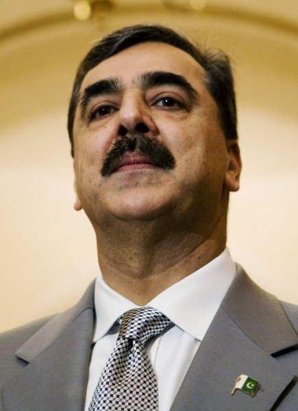 Pakistani Prime Minister Yousuf Raza Gilani speaks before meeting with Speaker of the House Nancy Pelosi, D-CA, on Capitol Hill in Washington on July 30, 2008. (UPI Photo/Patrick D. McDermott)