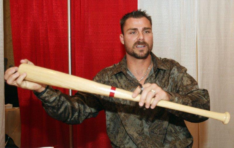 Rick Ankiel of the St. Louis Cardinals poses with a bat at a fan event Jan. 18, 2009. (UPI Photo/Bill Greenblatt)