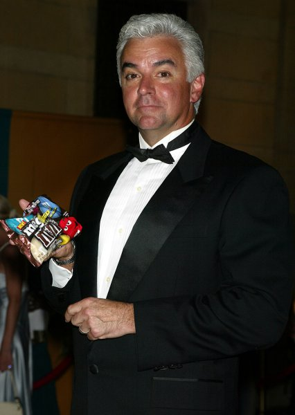 John O'Hurley helps launch the new Mega M&M's at Grand Central Station in New York on August 4, 2005. (UPI Photo/Laura Cavanaugh)