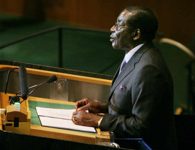 Robert Mugabe, President of Zimbabwe, addresses 63rd session of the General Assembly at the UN on September 25, 2008 in New York City. (UPI Photo/Monika Graff)