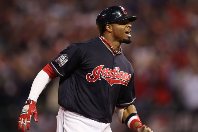 Cleveland Indians' Rajai Davis hits a 2-RBI home run to tie the score against the Chicago Cubs during the eighth inning of World Series game 7 at Progressive Field in Cleveland, Ohio, on November 2, 2016. Photo by Aaron Josefczyk/UPI