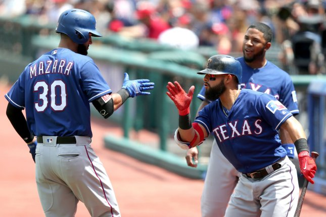 Texas Rangers' Nomar Mazara (30) celebrates with Rougned Odor after a home run. File photo by Aaron Josefczyk/UPI
