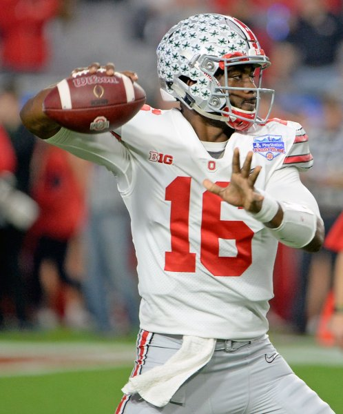Ohio State Buckeyes quarterback J.T. Barrett lifted his team to an easy win over the Indiana Hoosiers in the season-opener Thursday. Photo by Art Foxall/UPI