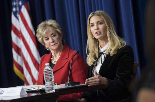 President Donald Trump's daughter, Ivanka Trump, (R) and Small Business Administrator Linda McMahon led a discussion about the economy at a panel titled Conversation with the Women of America Thursday. Photo by Kevin Dietsch/UPI