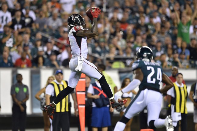 Atlanta Falcons wide receiver Julio Jones (11) makes a catch during the second half of an NFL game against the Philadelphia Eagles on September 6 at Lincoln Financial Field in Philadelphia. Photo by Derik Hamilton/UPI