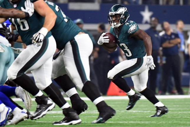 Philadelphia Eagles running back Darren Sproles rushes against the Dallas Cowboys at AT&T Stadium in Arlington, Texas. File photo by Ian Halperin/UPI