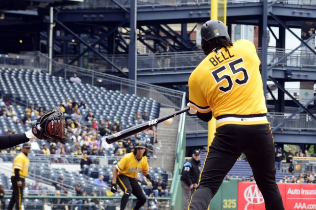 Pittsburgh Pirates first baseman Josh Bell (55) is hitting .315 in 75 games with 20 home runs and a National League-high 66 RBIs in 298 plate appearances. File Photo by Archie Carpenter/UPI
