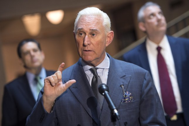 Republican operative Roger Stone's trial starts this week. He faces seven charges, including lying to Congress about his association with WIkiLeaks. File Photo by Kevin Dietsch/UPI