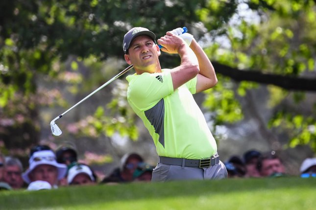 Sergio Garcia watches his shot from the fourth tee during the first round of the Masters Tournament at Augusta National Golf Club in Augusta, Ga., on April 11. The golfer turns 40 on January 9. File Photo by Kevin Dietsch/UPI