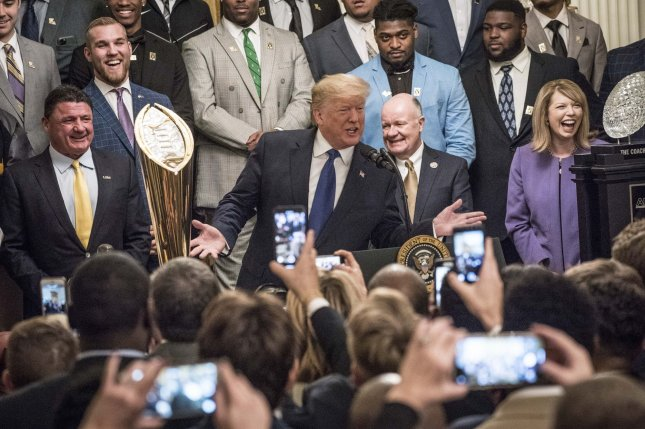 President Donald Trump speaks at an event with the 2019 college football national champion Louisiana State University Tigers Friday in the East Room of the White House. Photo by Sarah Silbiger/UPI