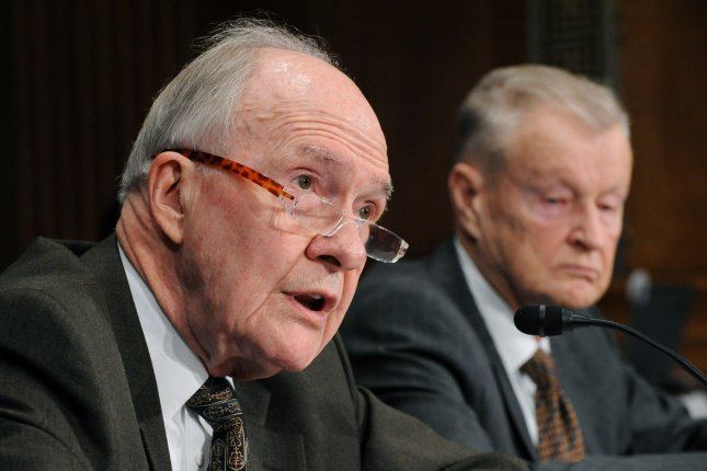 Brent Scowcroft (L) and Zbigniew Brzezinski testify before a Senate Foreign Relations Committee hearing on U.S strategy on Iran in Washington on March 5, 2009. File Photo by Kevin Dietsch/UPI