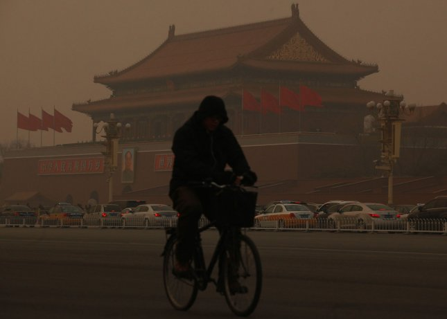 A heavy smog hangs over Beijing on January 14, 2013. Public anger in China, due to dangerous levels of air pollution which blanketed China's capital in acrid smog, spread Monday as state media queried official transparency and the nation's breakneck development. UPI/Stephen Shaver