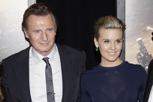 Liam Neeson and Maggie Grace at the 'Taken 3' Fan Event Screening at AMC Empire 25 Theater in New York City on January 7, 2015. Photo by John Angelillo/UPI