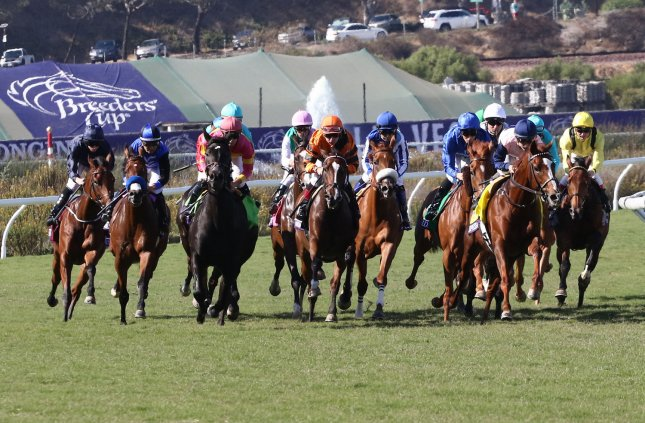 The field heads out of the chute at the start of the Breeders Cup Filly and Mare Turf during the 34th Breeders Cup World Championship at the Del Mar Racetrack, in Del Mar, Calif., on Saturday. Photo by Mark Abraham/UPI