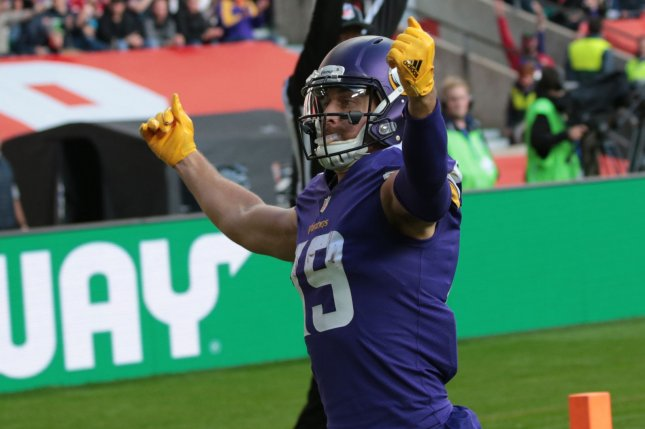Minnesota Vikings wide receiver Adam Thielen celebrates a touchdown in the NFL International Series match against the Cleveland Browns on October 29 at Twickenham Stadium in London. Photo by Hugo Philpott/UPI