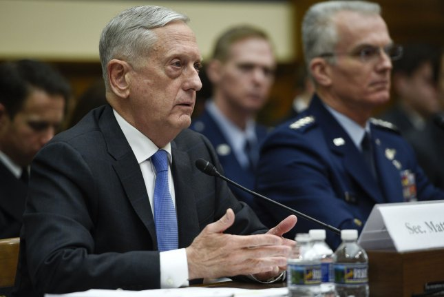 Defense Secretary Jim Mattis (L) and Air Force Gen. Paul Selva, vice chairman of the Joint Chiefs of Staff, testify during a hearing on The National Defense Strategy and the Nuclear Posture Review at the Rayburn Building in Washington, DC on Tuesday. Photo by Leigh Vogel/UPI