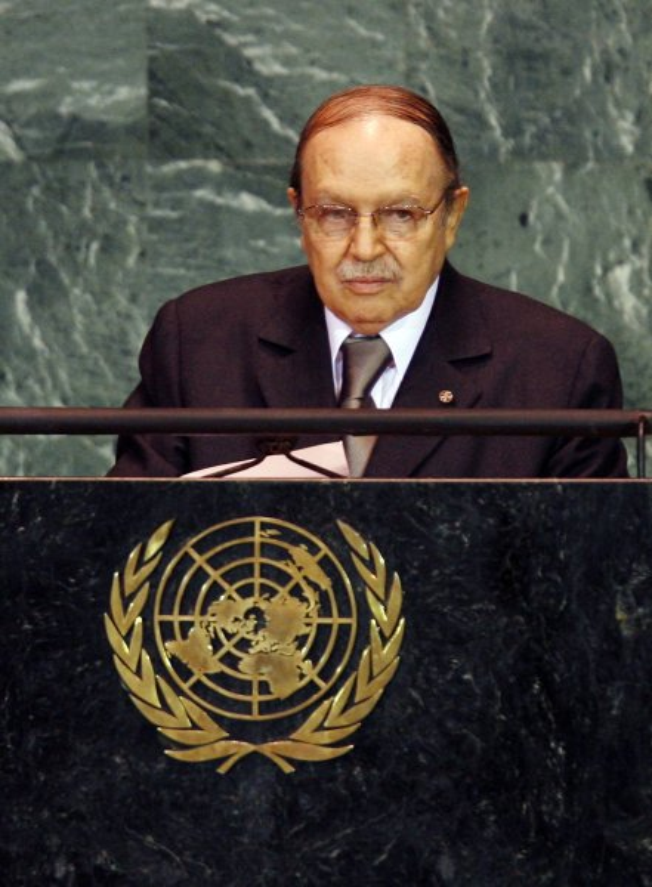 Abdelaziz Bouteflika, President of Algeria, speaks at the 64th United Nations General Assembly in the UN building in New York City on September 23, 2009. UPI/John Angelillo