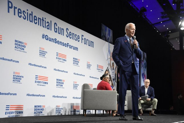 Former Vice President Joe Biden touted his experience fighting the National Rife Association in his plan for ending gun violence. File Photo by Mike Theiler/UPI