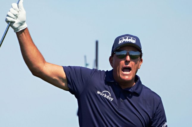 Phil Mickelson reacts to a shot off the 17th tee during the 103rd PGA Championship on Sunday on the Ocean Course at Kiawah Island in Kiawah Island, S.C. Photo by Richard Ellis/UPI