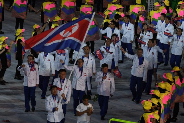 North Korea marches in the athletes parade at the Opening Ceremony of the 2016 Rio Summer Olympics in Rio de Janeiro, Brazil, on August 5. Pyongyang's athletes were given Samsung smartphones, but they were not seen carrying them like other athletes, according to a source. Photo by Terry Schmitt/UPI