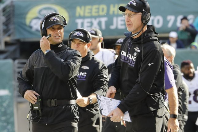 The Baltimore Ravens seems to be peaking at the perfect time, but coach John Harbaugh doesn't want to derail that momentum, stating Now we have our toughest challenge...We're going to need to play our best football on Monday night up in New England to win that football game. File Photo by John Angelillo/UPI