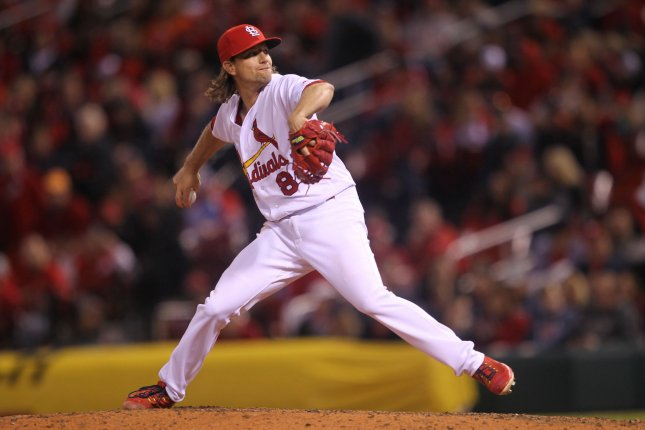 St. Louis Cardinals starting pitcher Mike Leake delivers a pitch. File photo by Bill Greenblatt/UPI