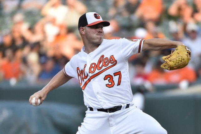 Baltimore Orioles pitcher Dylan Bundy delivers to the Texas Rangers during the first inning at Camden Yards in Baltimore, July 18, 2017. File photo by David Tulis/UPI