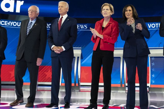 Democratic presidential candidates, from left to right, Sen. Bernie Sanders, former Vice President Joe Biden, Sen. Elizabeth Warren and Sen. Kamala Harris are introduced prior to the third round of primary debates on the Campus of Texas Southern University in Houston, Texas, on September 12, 2019. Photo by Kevin Dietsch/UPI