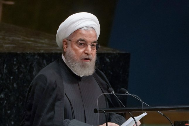 Iranian President Hassan Rouhani, shown here speaking at the United Nations in September, said Monday his country will remain part of a 2015 nuclear deal to win relief from a U.N. arms embargo next year. Photo by Jemal Countess/UPI