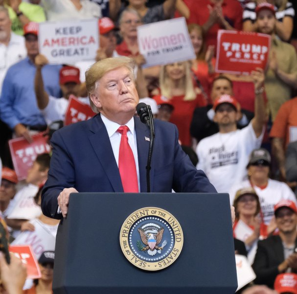 United States President Donald J. Trump speaks to supporters during a 'Keep America Great' Homecoming Rally at the BB&T Center, in Sunrise, Florida on Tuesday, November 26, 2019. Photo by Gary I Rothstein/UPI