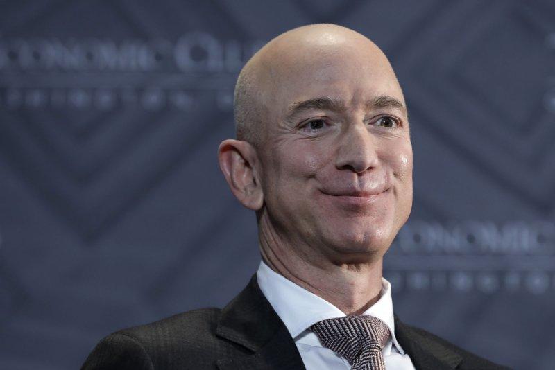 Jeff Bezos, CEO and founder of Amazon, speaks at The Economic Club Milestone Celebration Dinner in Washington on September 13, 2018. Bezos donated $200 million to the Smithsonian. File Photo by Yuri Gripas/UPI